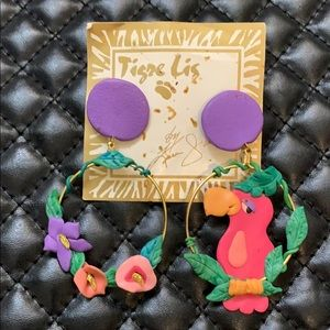 🆕Designer Tigre Lis 80-90s Couture Tropical Hoops